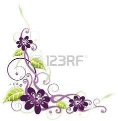Purple and filigree flowers, floral element photo