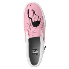 MidCentury Modern Atomic Starbursts Flamingo Pink Slip-On Sneakers Flamingo Shoes, Slip On Sneakers, Midcentury Modern, Athletic Shoes, Mid Century, Footwear, Classy, Fancy, Pink