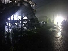 Relighting the former Six Flags: New Orleans for a recent film. Dimmer technician services provided by SMEC. In collaboration with Eco Productions