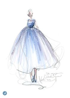 @Cinderellamovie The chosen look, by Katie Rodgers.This Cinderella-inspired look will be crafted from sketch to stitch - follow us to watch the process unfold. Illustration by Katie Rodgers, Creatrs Network. #CINDERELLA