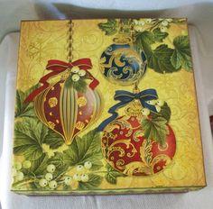"PUNCH STUDIO Kirshner Decorative Arts Collection Storage Box  9""x9""x4"" UEC  #PunchStudio #Holiday"