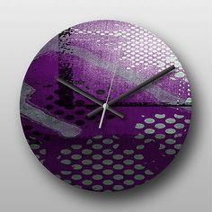 Wall #clock #purple #abstract,  View more on the LINK: 	http://www.zeppy.io/product/gb/2/191647965721/