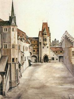 Albrecht Dürer: Courtyard of the Former Castle in Innsbruck without Clouds