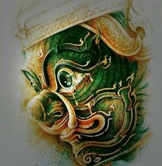 Drawing Sketches, Art Drawings, Thailand Art, Lily Chee, Plaster Art, Japanese Tattoo Art, Buddha Art, Thai Art, Cover Tattoo
