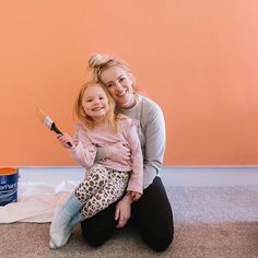 "This girl surprised me with her color pick for her bedroom wall but I'm 👏🏻 here 👏🏻 for 👏🏻 it 👏🏻 and we had so much fun painting it together today. 💕 Ps. Please notice Blake's outfit. Never change sweet girl. // Color is ""Sunset"" from Sherwin Williams. 🌅 #quarantinelife    #Regram via @B-gC6eElB3L"