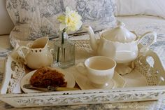 A light breakfast of tea and homemade scones.