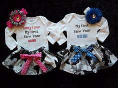 New years outfit first baby girl 1st 2013 Christmas onesie dress pink Royal blue size newborn 3 6 9 12 18 months zebra bow headband. $35.50, via Etsy.