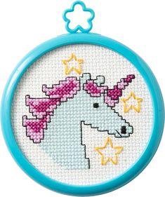 Mystical Unicorn My Stitch Kit Christmas Stocking Stuffers, Counted Cross Stitch Kits, Sewing Stores, Cross Stitch Patterns, Sewing Crafts, Unicorn, Mini, Creative, Chart