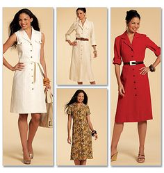 M5847 | Misses' Shirtdresses In 3 Lengths and Sash | Dresses | McCall's Patterns