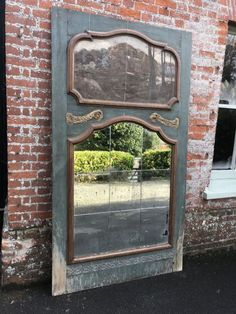 A Spectacular large Antique Century French carved wood original distressed painted Panelled two section Mirror. - Antique All Our Antique Mirrors Distressed Mirror, Distressed Painting, Extra Large Wall Mirrors, Floor Standing Mirror, Antiques For Sale, Antique Photos, Painted Furniture, 19th Century, Carving