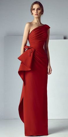 Red prom dress one shoulder party dress mermaid