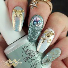 Mermaid nail art, mermani, Daily Charme Aurora Fairy Dust Magic Glitter, Daily Charme Dreamy Mermaid Pearls
