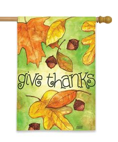 Look what I found on #zulily! Fall Leaves 'Give Thanks' Outdoor Flag by Briarwood Lane #zulilyfinds
