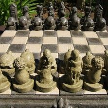 "Gardener's Chess Set by Designer Stone. Handcrafted solid stone construction. Made in the USA. 17"" square, 37lbs."