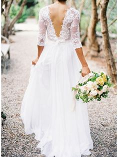 V BACK 3/4 SLEEVES CHIFFON BEACH WEDDING DRESS WITH LACE
