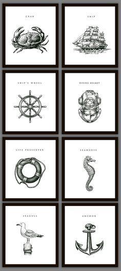 8 Nautical Home Decoration Art Prints by PrintsofBeauty on Etsy