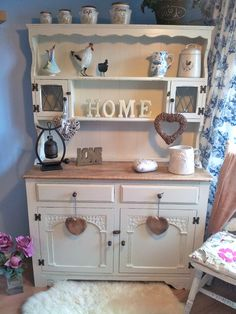 Shabby Chic Welsh Dresser, painted in Farrow & Ball Clunch then distressed lightly. Shabby Chic Dining Room, Shabby Chic Office, Shabby Chic Kitchen, Shabby Chic Decor, Trendy Furniture, Shabby Chic Furniture, Furniture Decor, House Furniture, Dresser Furniture