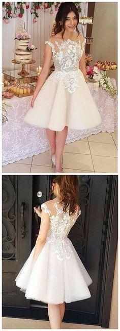 short prom dresses Cheap homecoming dresses ,Princess Lace Appliques Short Homecoming Dress