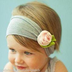 Baby Kinder Stirnband grau-rosa  Rose Blume Blüte Haarband Mädchen Haarschmuck