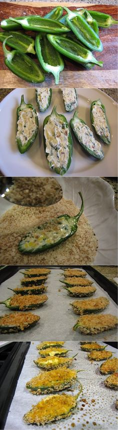 Ingredients: 12 jalapenos, sliced in half lengthwise, seeds & membranes removed 4 oz. neufchatel light cream cheese, softened 5 medium scallions, only the green pa Brunch Recipes, Appetizer Recipes, Appetizers, Healthy Snacks, Healthy Eating, Healthy Recipes, Delicious Recipes, Easy Recipes, Gastronomia