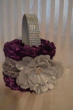 Purple Flower Girl Basket-Purple ruffle basket with silver lace and peony-Rhinestone handle via Etsy