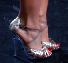 """5 1/2"""" clear heel silver leather"""