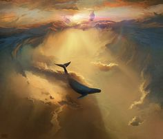 Infinite Dreams - Dreamy Digital Paintings of Whales Flying Across the Sky by Artem Chebokha