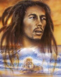 Bob Marley poster lion rare OOP air brush 24 x 36 Bob Marley Art, Reggae Art, Lion Poster, Nesta Marley, Lion Painting, Tribe Of Judah, Lion Art, Beach Art, Airbrush