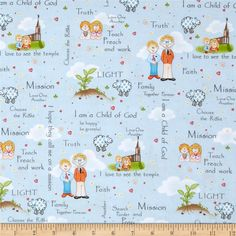 Follow Me Words & People Blue from @fabricdotcom  Designed by Dana Brooks for Henry Glass & Co., this cotton print fabric is perfect for quilting, apparel and home decor accents. Colors include white, shades of blue, orange, brown, grey, yellow, green and red.