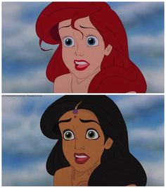 """A Whole New World Part 1"" Disney Princesses as other races. By Let There Be Doodles! on Tumblr"