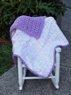 baby girl purple blanket crochet blanket flannel by 4my4creations
