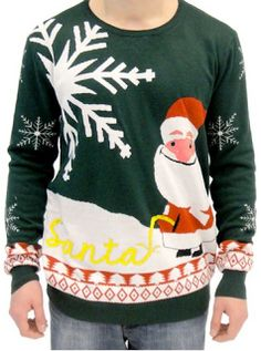 Funny Ugly Christmas Sweaters w/ Santa and Dogs Peeing  | SassyDealz.com