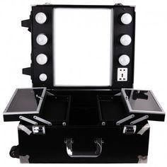 Valise maquillage trolley professionnel croco noir parisax - Table de maquillage pas cher ...