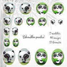 images à imprimer pour cabochon Adorables pandas : Images digitales pour bijoux par patouille-et-gribouille Image Digital, Bottle Cap Images, Clipart, Decoupage, Printables, Etsy, Homemade, Image Chat, Badges