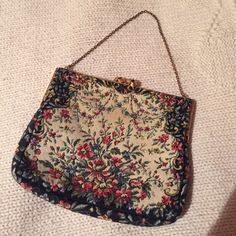 """Pogue's vintage purse Here's a vintage bag made in France expressly for Pogue's Cincinnati. Light spot as I pointed to in last picture. I don't know the vintage year of this purse. 6""""x5"""". Pogue's closed down in the early 80s so this bag should be from the 70s or early 80s. Pogue's Bags Mini Bags"""