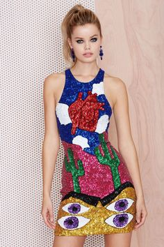 DI$COUNT TRA$H Heart Sequin Dress