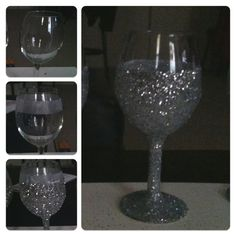 DIY GLITTER wine glasses...super easy!!!