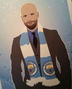 Our Boss Pep Retro Football, Football Art, Manchester City, Boss, Men, Guys