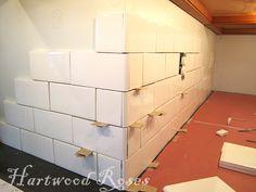 Hartwood Roses: Workday Weekend Tutorial: Tiling the Backsplash Guest Bathrooms, Bathroom Renos, Bathroom Ideas, White Tile Backsplash, Tile Counters, Kitchen Backsplash, Countertops, Subway Tile Kitchen, Subway Tiles