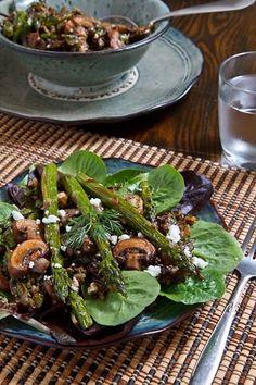 Warm Mushroom, Roasted Asparagus and Wild Rice Salad with Feta