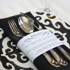 Printable Personalized Menu Wrap by printyourparty on Etsy Wedding Menu, Wedding Table, Diy Wedding, Wedding Favors, Wedding Reception, Wedding Planner, Dream Wedding, Wedding Decorations, Wedding Day