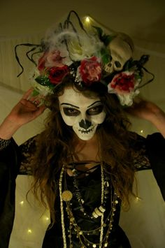 """Beautiful Handmade Flower Crown Wreath """"The VooDoo Priestess"""". $50.00, via Etsy."""
