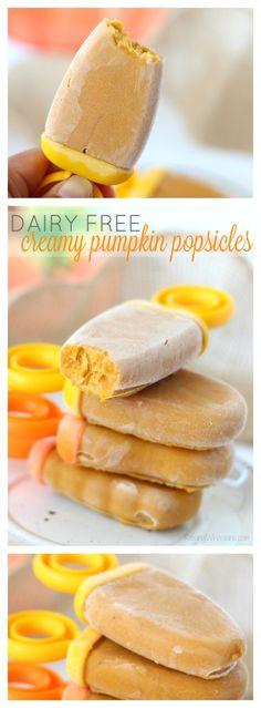 3-Ingredient Creamy Pumpkin Popsicles {No Dairy} - with baby safe option…