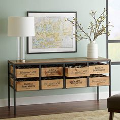 Buy the Vino Vintage Console Table at Wine Enthusiast – we are your ultimate destination for wine storage, wine accessories, gifts and more! Console Metal, Modern Console Tables, Wine Crate Table, Wine Crates, Wooden Crates, Sideboard Table, Solid Wood Table Tops, Crate Shelves, Decoration Inspiration
