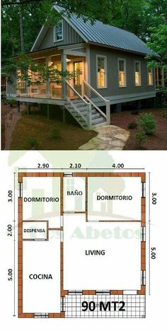 Casas D House, Tiny House Cabin, Log Cabin Homes, Small House Plans, Cottage Floor Plans, Cabin Floor Plans, Bungalows, House On Stilts, House Blueprints
