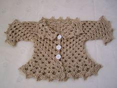 Crochet Baby Sweater In Bone Ready To Ship. $18.00, via Etsy.