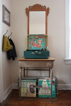 wire baskets, but love the old desk.