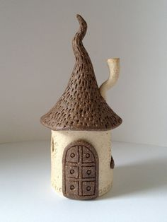 Ceramic Fairy House  Warm White and Red by ccartsy on Etsy, $28.00