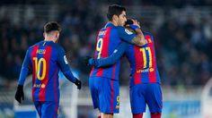 Messi, Suarez And Neymar All Score In Barca's 4-0 Win Over #Eibar. #Messi #LionelMessi #Suarez #Neymar #Barca #FCBarcelona #soccerplayers #goals