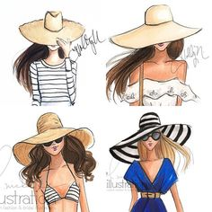 I'm sensing a theme.  #fashionillustration #fashionillustrator #floppyhat #beachhat #fashionsketch #copicart #copicdesign #bostonblogger (at hnillustration.etsy.com)